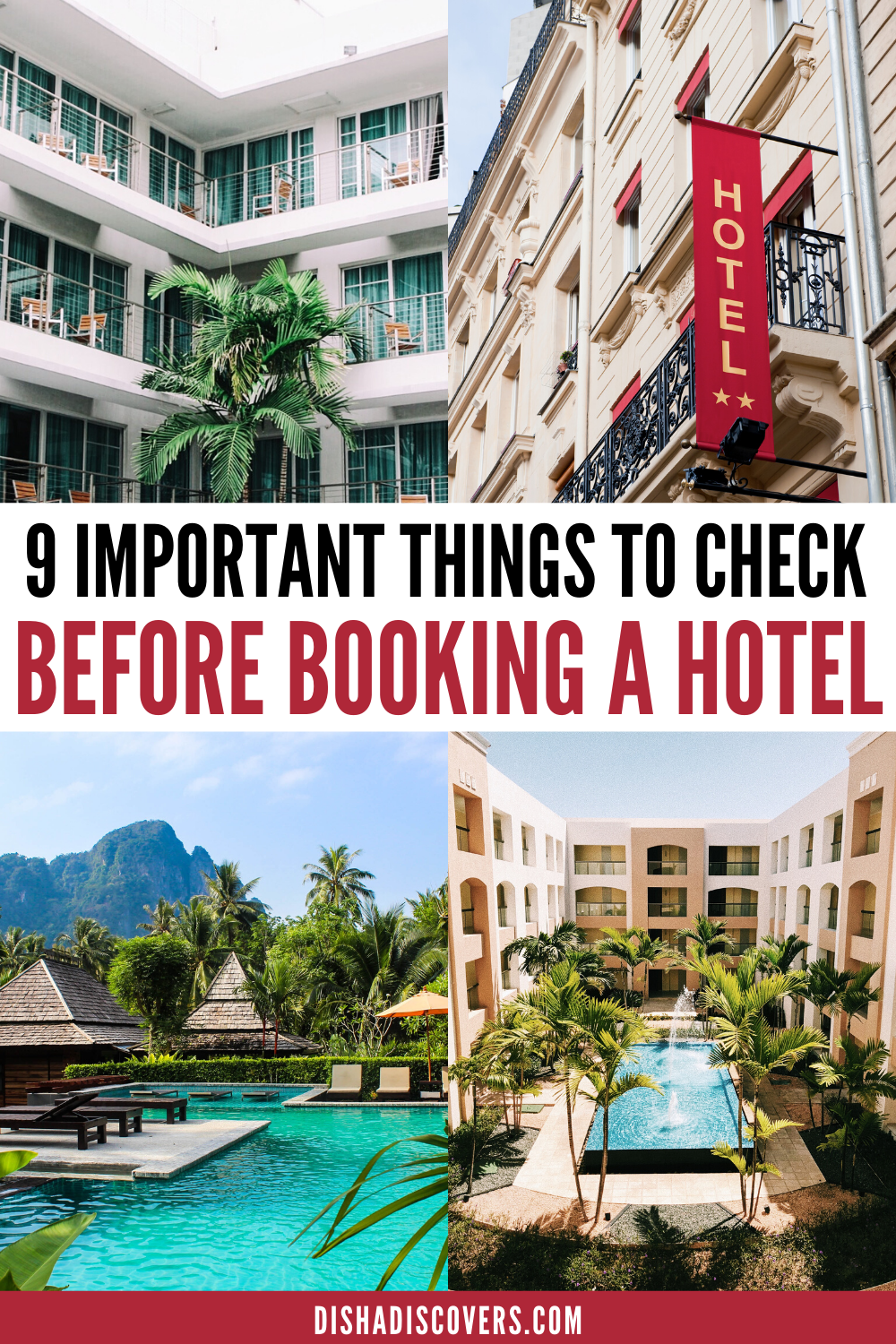 Travel Accommodation Tips: 9 Most Important Factors to Consider Before Booking a Hotel - Are you stressing out about travel accommodations and finding the right hotel? These travel accommodation tips will take some of that stress away. Follow these nine hotel tips so you can find the perfect travel accommodations. | Hotels tips hacks | Hotel tips and tricks | #traveltips #hotels #accommodation #hotelhacks #hoteltips
