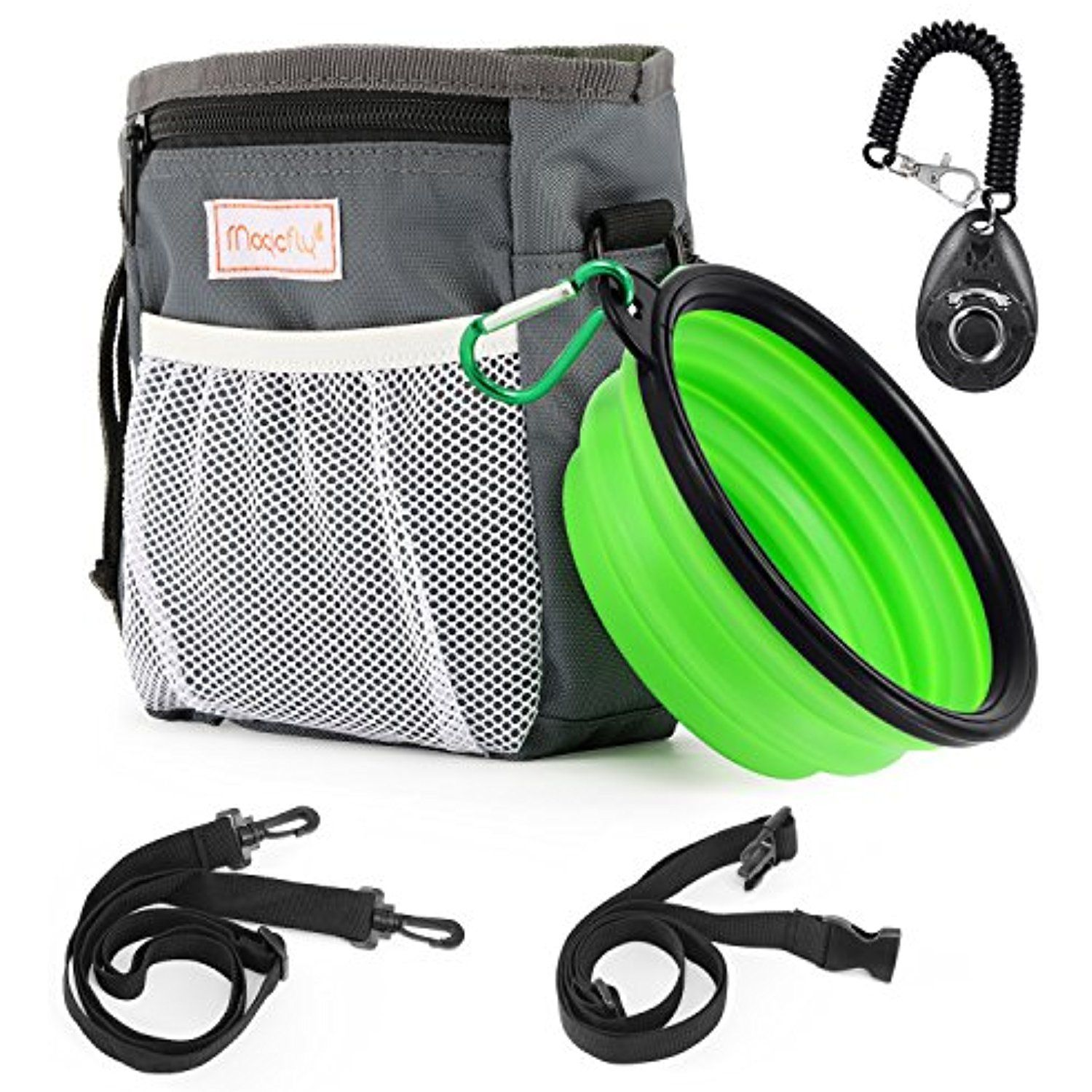 Magicfly Dog Treat Traning Pouch Bag With Collapsible Pet Bowl Clicker Adjule Belt Built In Dispenser 3
