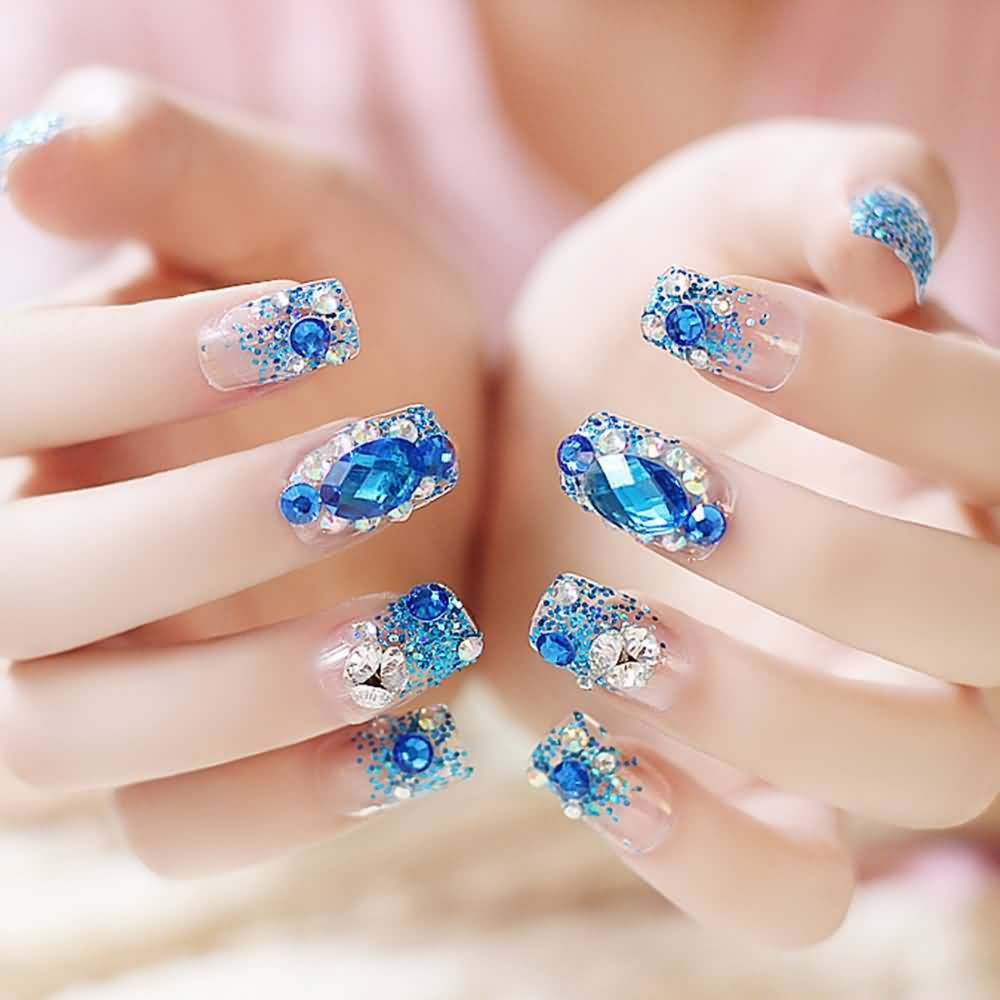 blue sapphire rhinestone diamond with glitter powder Nail Art Self-adhesive  False Fake Nail Tips Stickers with glue - Pin By Sabrina Swassou On Belle Et Zen Pinterest
