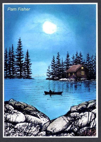 Moonlit Fisherman by pfish1492 - Cards and Paper Crafts at Splitcoaststampers