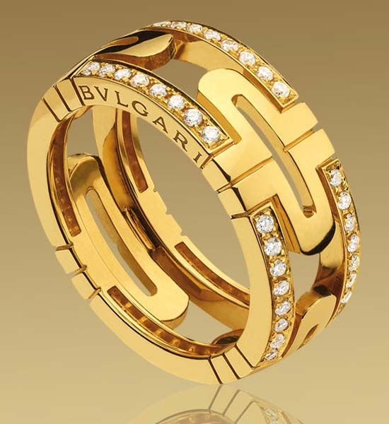 bvlgari gold and diamond parentesi ring