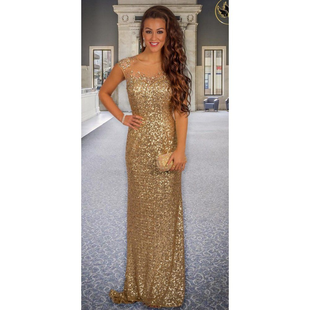 gold sequin prom dresses
