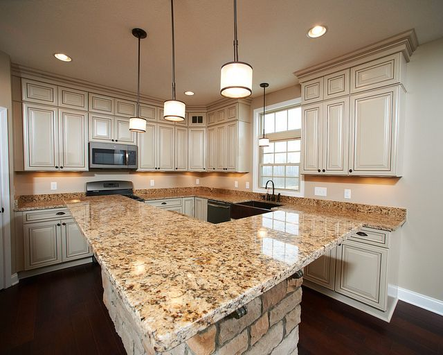 Pin By Thane Petzold On Home In 2020 Kitchen Cabinets And Granite Gold Granite Countertops Venetian Gold Granite