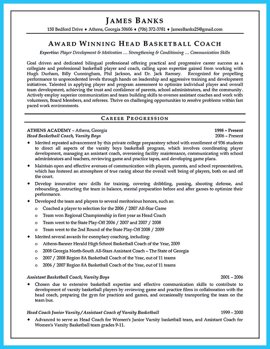 Awesome Captivating Thing For Perfect And Acceptable Basketball Coach Resume Basketball Coach Resume Coach Resume