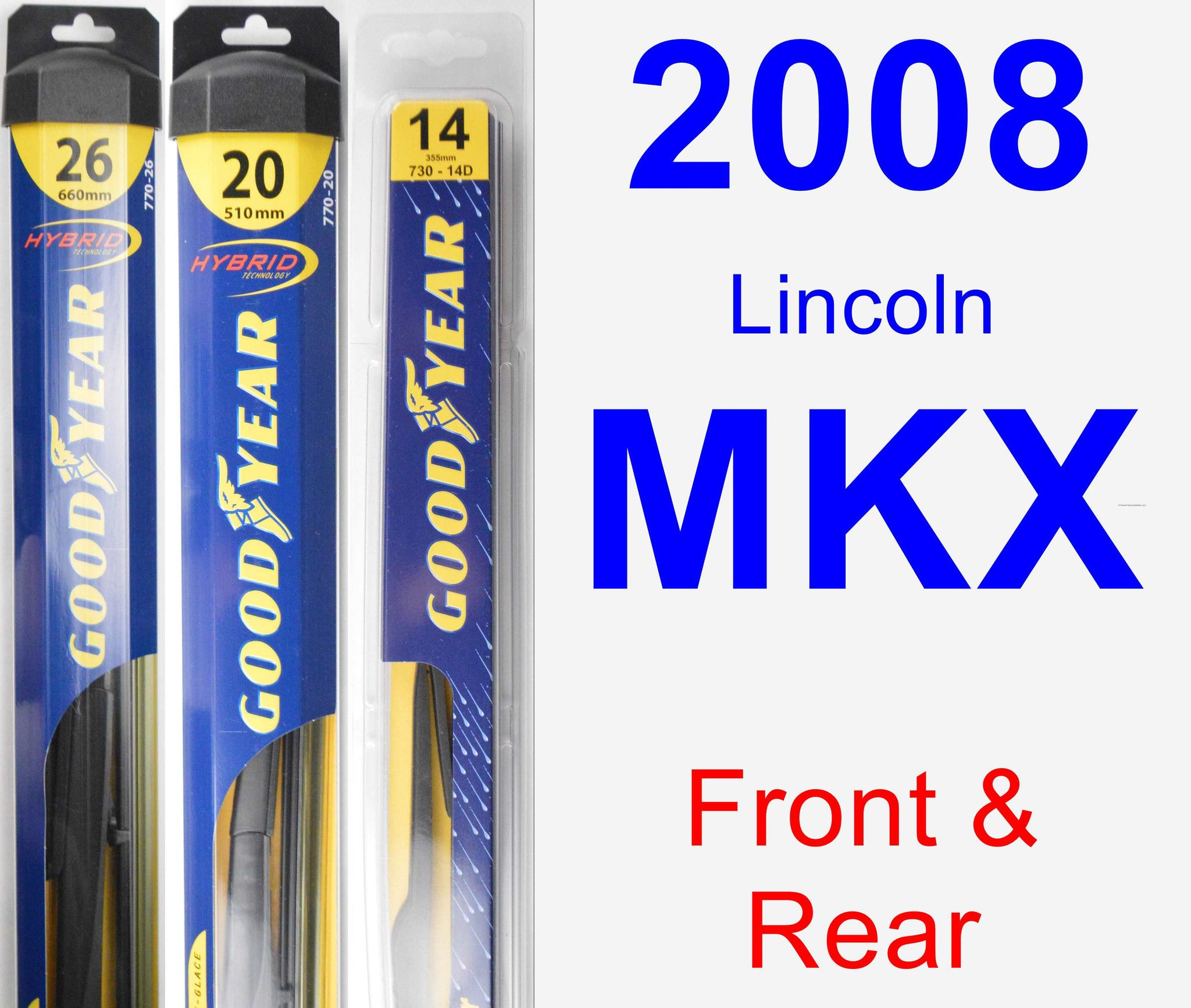 Front & Rear Wiper Blade Pack For 2008 Lincoln MKX
