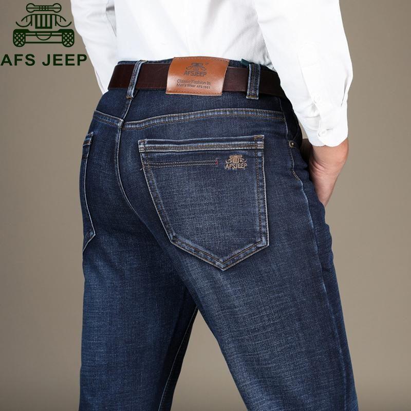 Compre 2018 Primavera Otono Jeans Hombres Pantalones Casuales De Negocios Hombres Gruesos Pantalones Rectos D Jeans Para Hombre Casual De Negocios Jeans Hombre