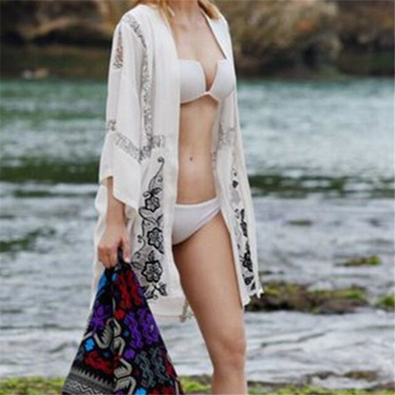 2017 New Arrivals Beach Cover up Chiffon Swimwear Lace Patchwork Tunics for Beach Cape Robe de Plage Poncho Saida de Praia #Q183