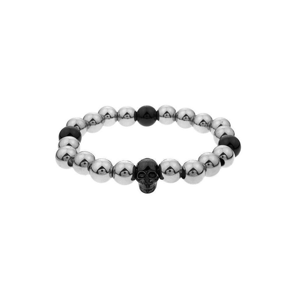 Mister Annum Plus Bead Bracelet - Chrome & Black