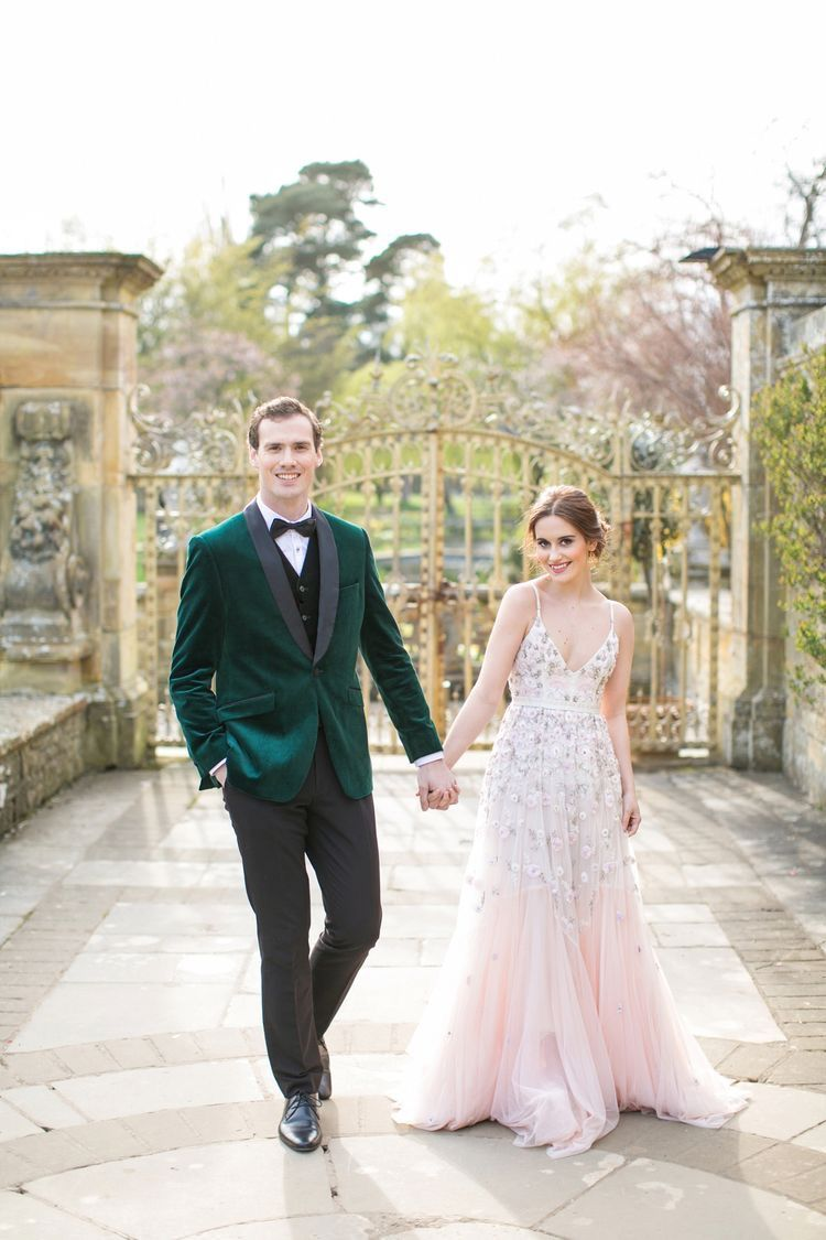 Gorgeous unique bride u groom style pink floral wedding dress