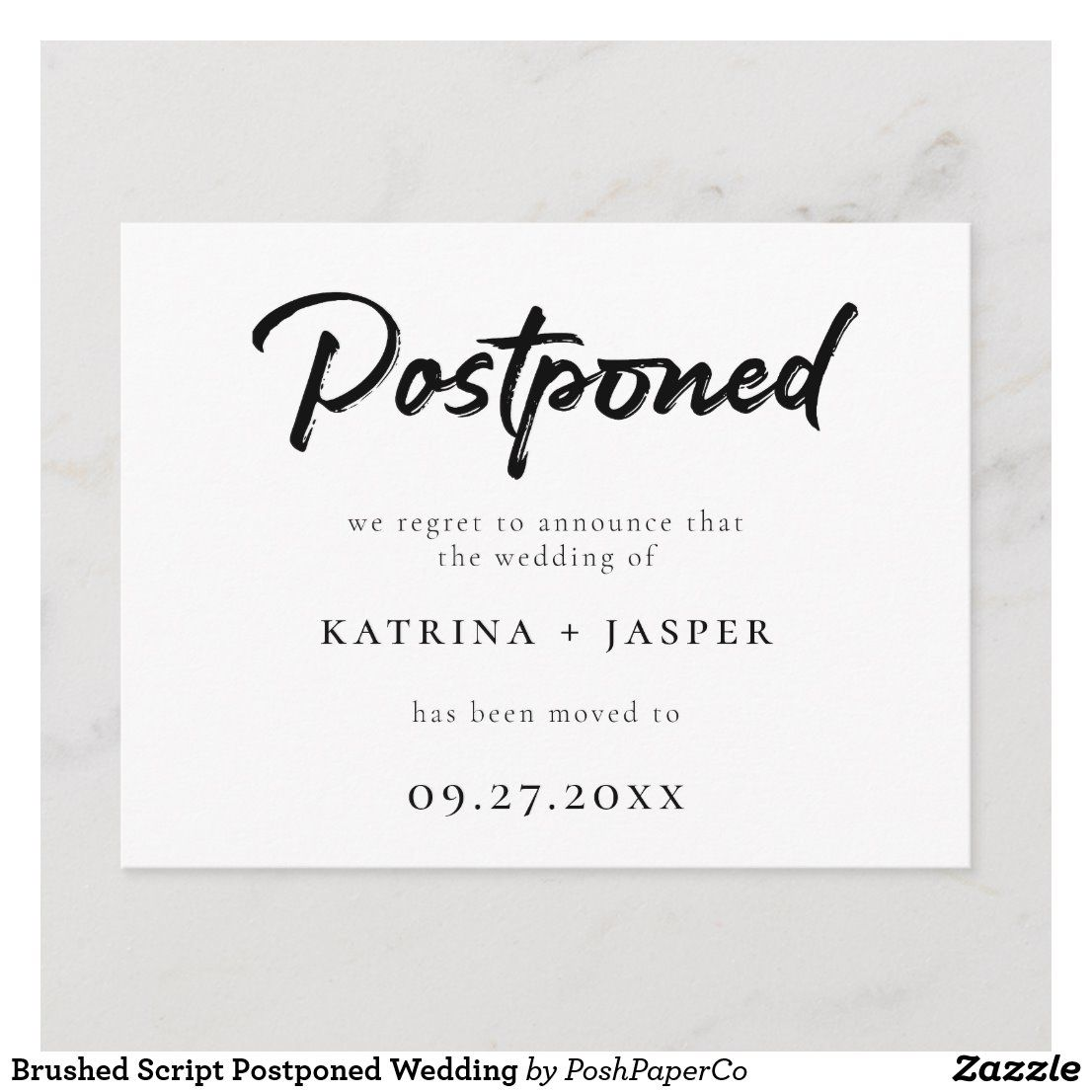 Brushed script postponed wedding announcement postcard