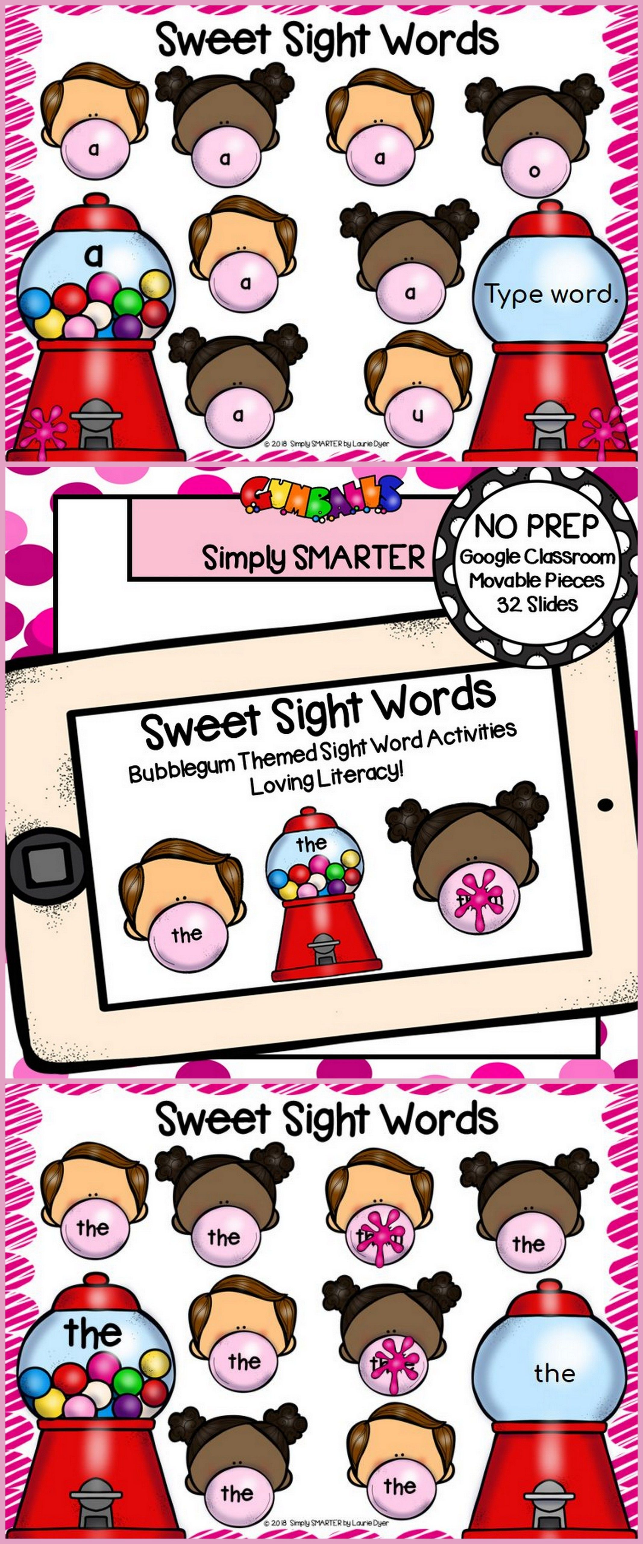 Gumball Themed Beginning Sight Word Building Activities For Classroom