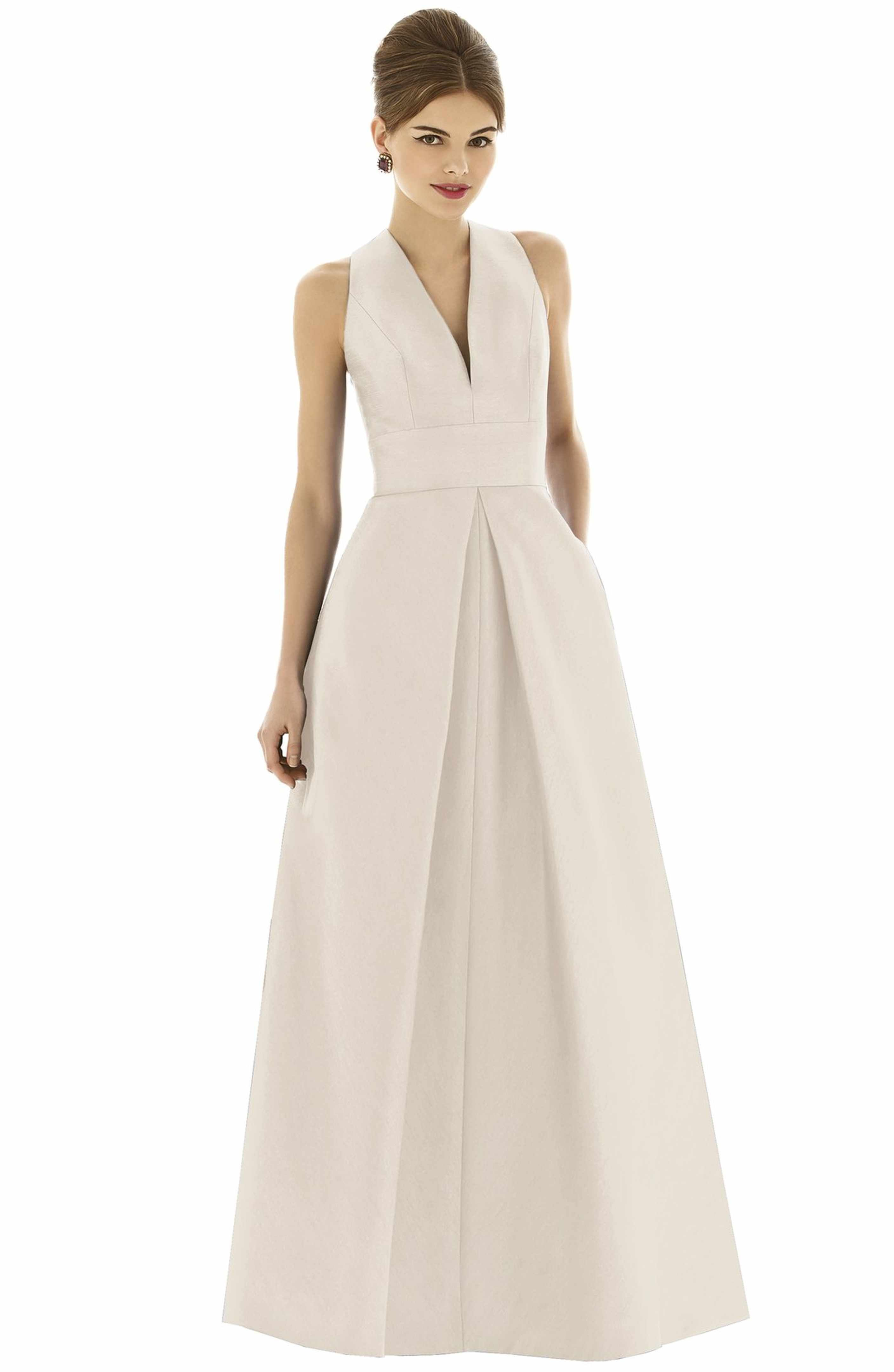 White cocktail dress for wedding  Dupioni ALine Gown  Alfred sung Ladies wear and Gowns