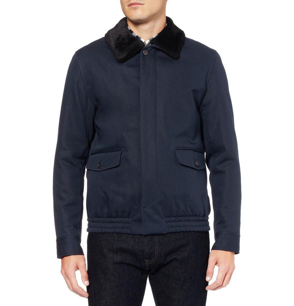 A P C Shearling Collar Cotton Blend Bomber Jacket Mr Porter Ropa De Caballero Disenadores De Moda Masculina Chaquetas [ 1002 x 960 Pixel ]