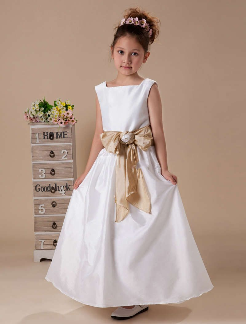 Sash embellishment princess flower girl dresses flower girls