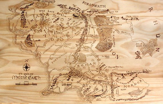Print of Hand Burned Map of Middle Earth Wood Burn | Products in