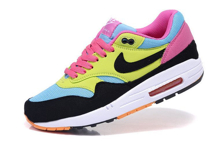 brand new e6bfd d66b9 ... netherlands nike air max 1 womens running shoe sky blue volt black pink  on sale uk ...