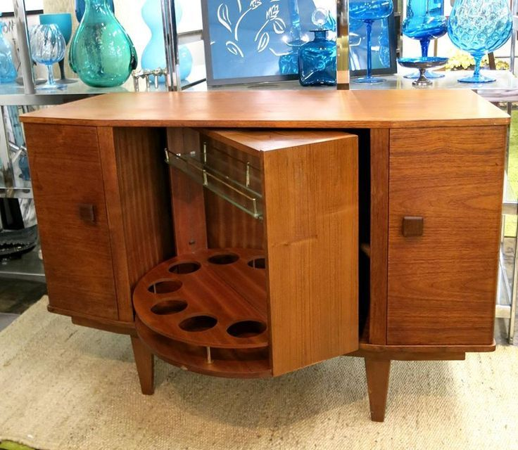 Amazing Bar Cabinet Danish Modern Teak With Revolving Bar Shelf