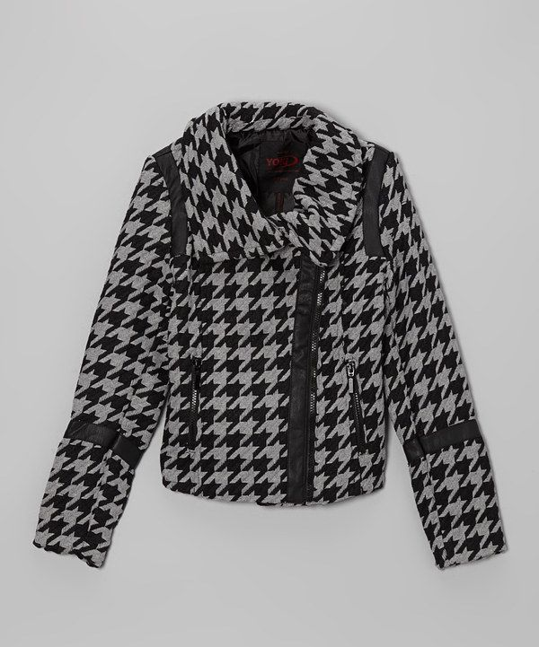Take a look at this Grey Houndstooth Asymmetrical Zip Jacket - Girls on zulily today!