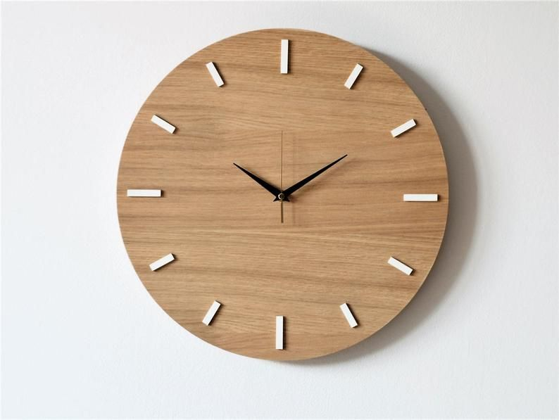 157 40 Cm Oak Wall Clock Modern Clock Natural Etsy In 2020 Modern Clock Wall Clock Modern Wooden Clock