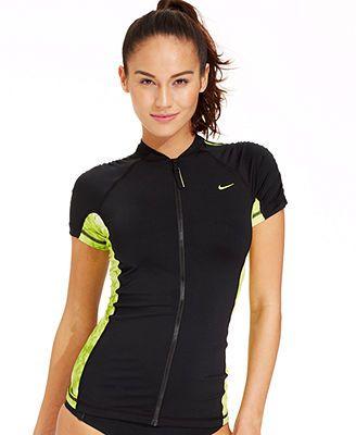 5455ae835f9 Nike Short-Sleeve Zip-Front Rashguard   Swimsuits in 2019   Swimwear ...