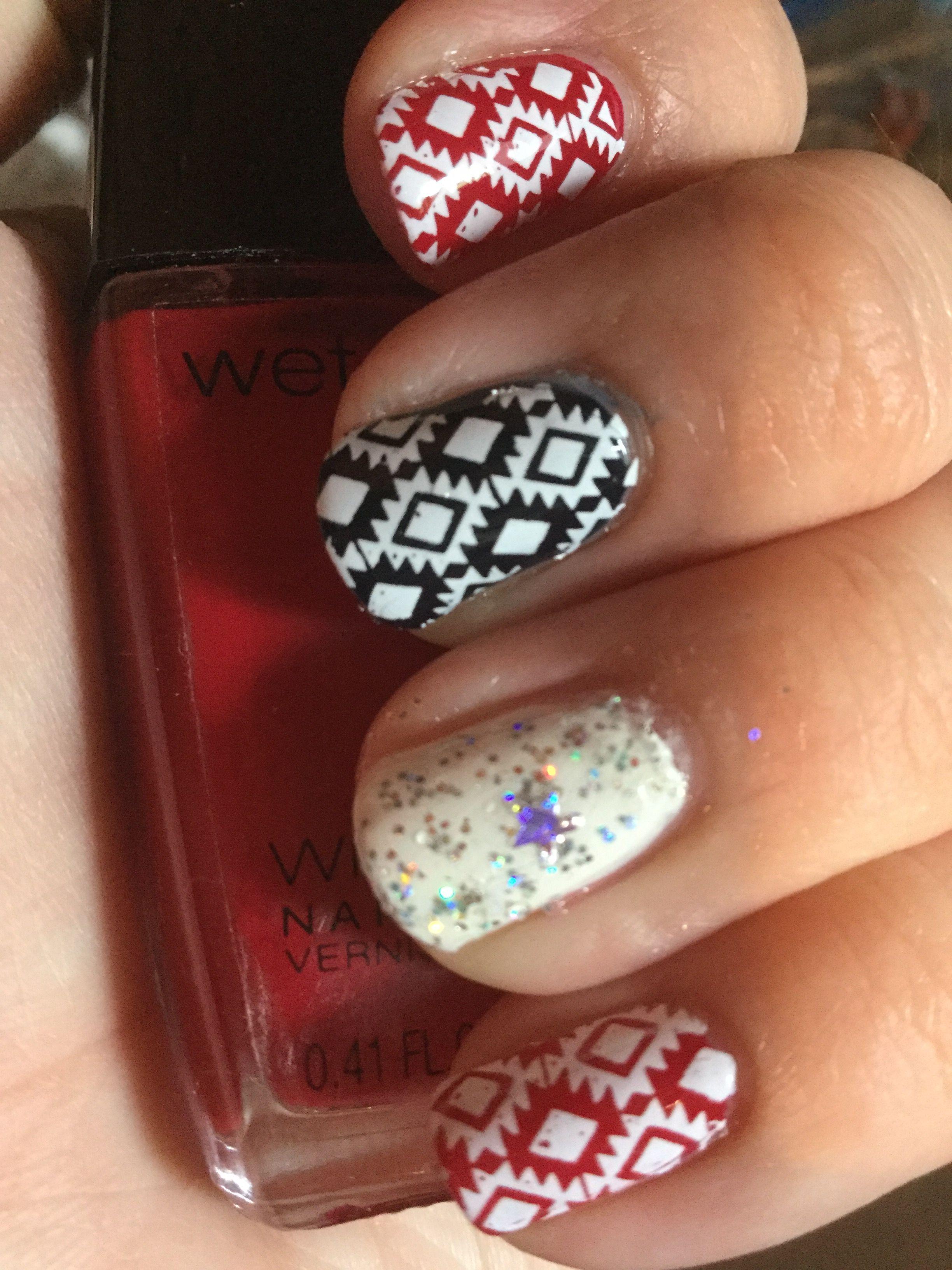 Red, white, navy nails #wetnwild #sallyhansen #bundlemonster | Nails ...