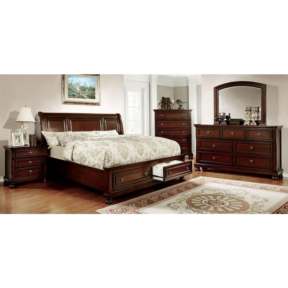 William S Home Furnishing Northville Queen Bed In Dark Cherry Red