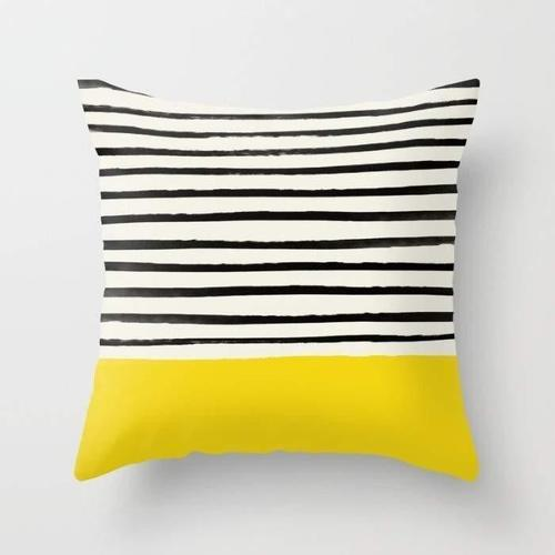 Black White And Yellow Throw Pillow Stripe Throw Pillow Yellow Throw Pillows Yellow Pillows