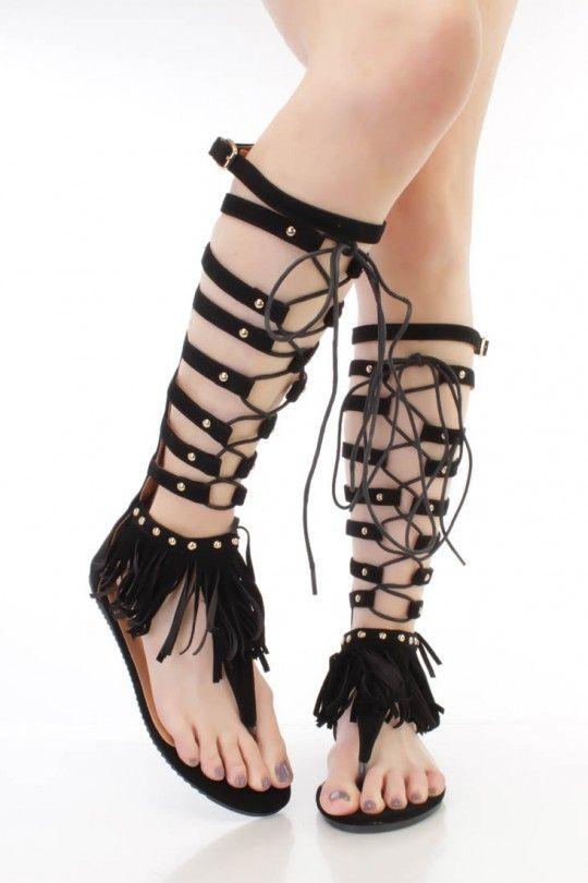 43478f03b Black Lace Up Fringe Thong Gladiator Sandals Faux Suede