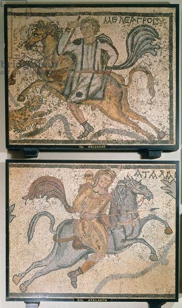 Roman mosaic, depicting Meleager and Atalanta, 4th century (mosaic). Roman, (4th century AD) / British Library, London, UK / © British Library Board. All Rights Reserved / The Bridgeman Art Library