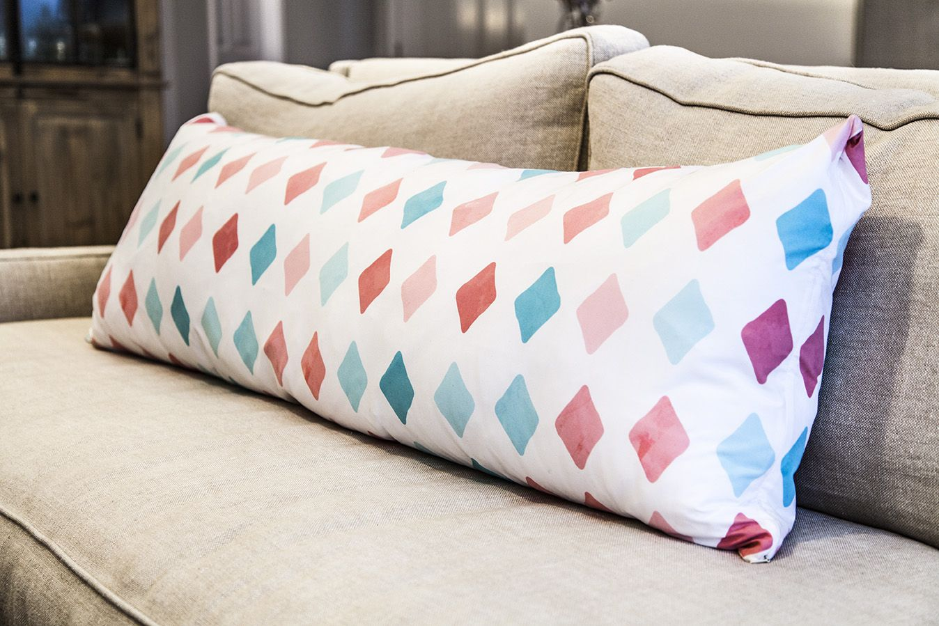 Custom printed body pillow for the bedroom. Design your