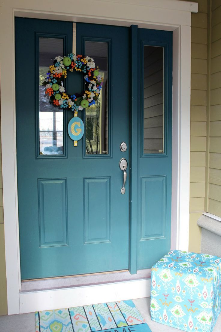 Yellow House Black Shutters Teal Door
