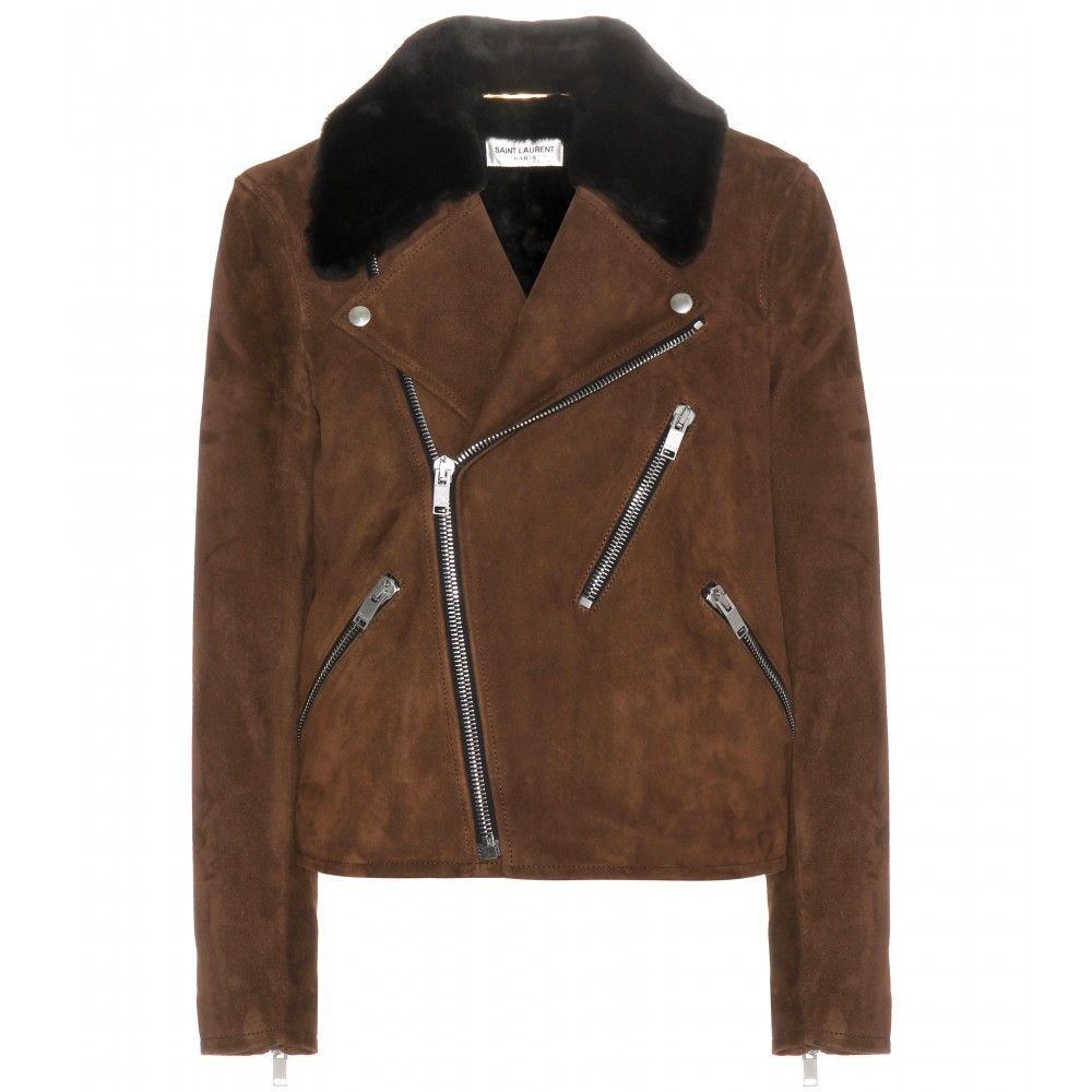 Saint Laurent | Brown Suede Biker Jacket | Lyst