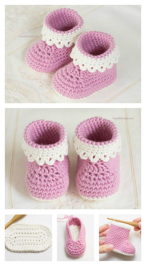 Pink Lady Baby Booties Free Crochet Patterns | Pink, Ganchillo y Bebé