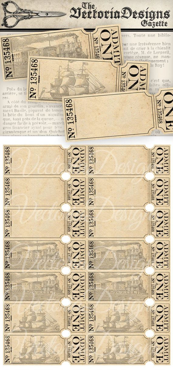 Vintage Tickets - Vintage printable tickets for your own events - Printable Event Tickets