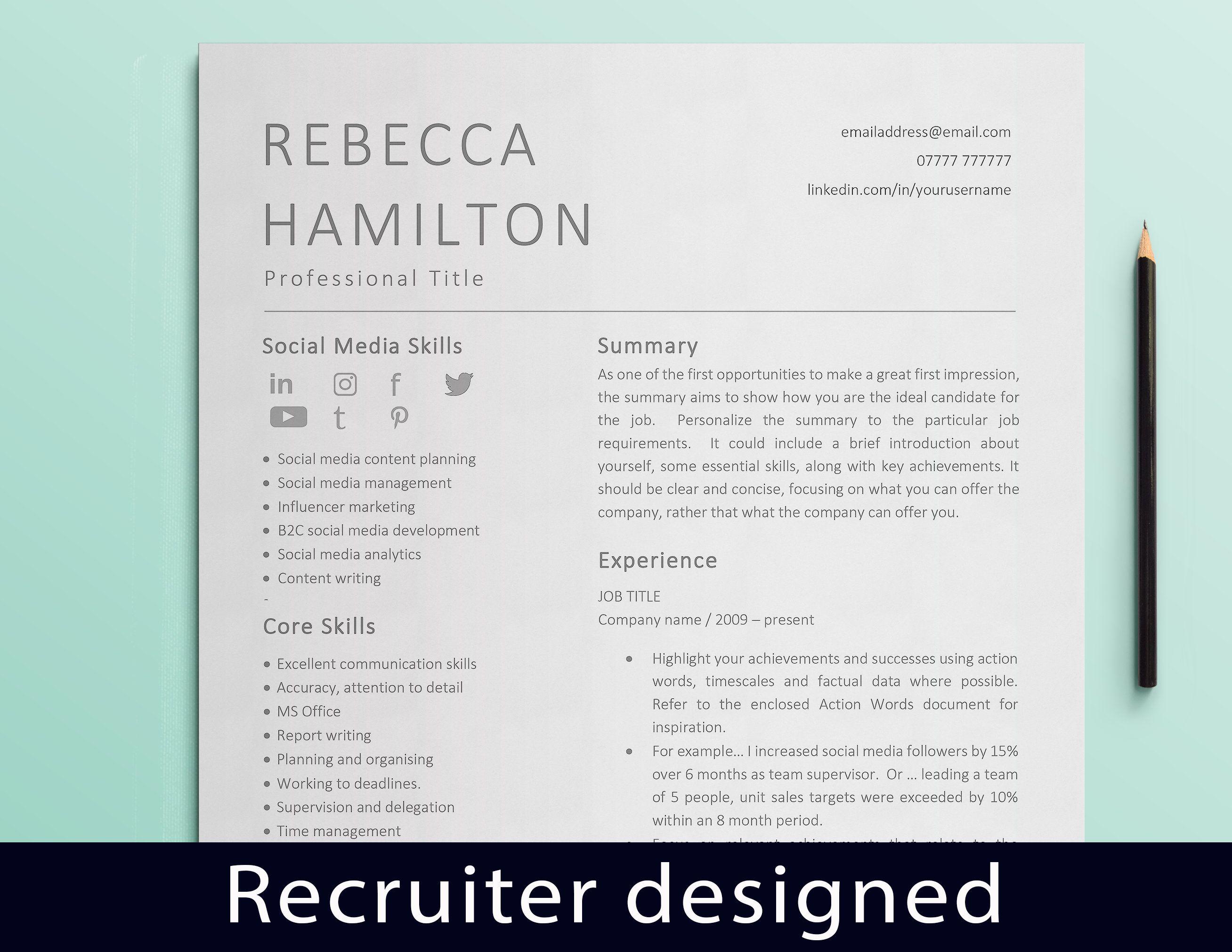 Curriculum vitae social media cv template resume templates