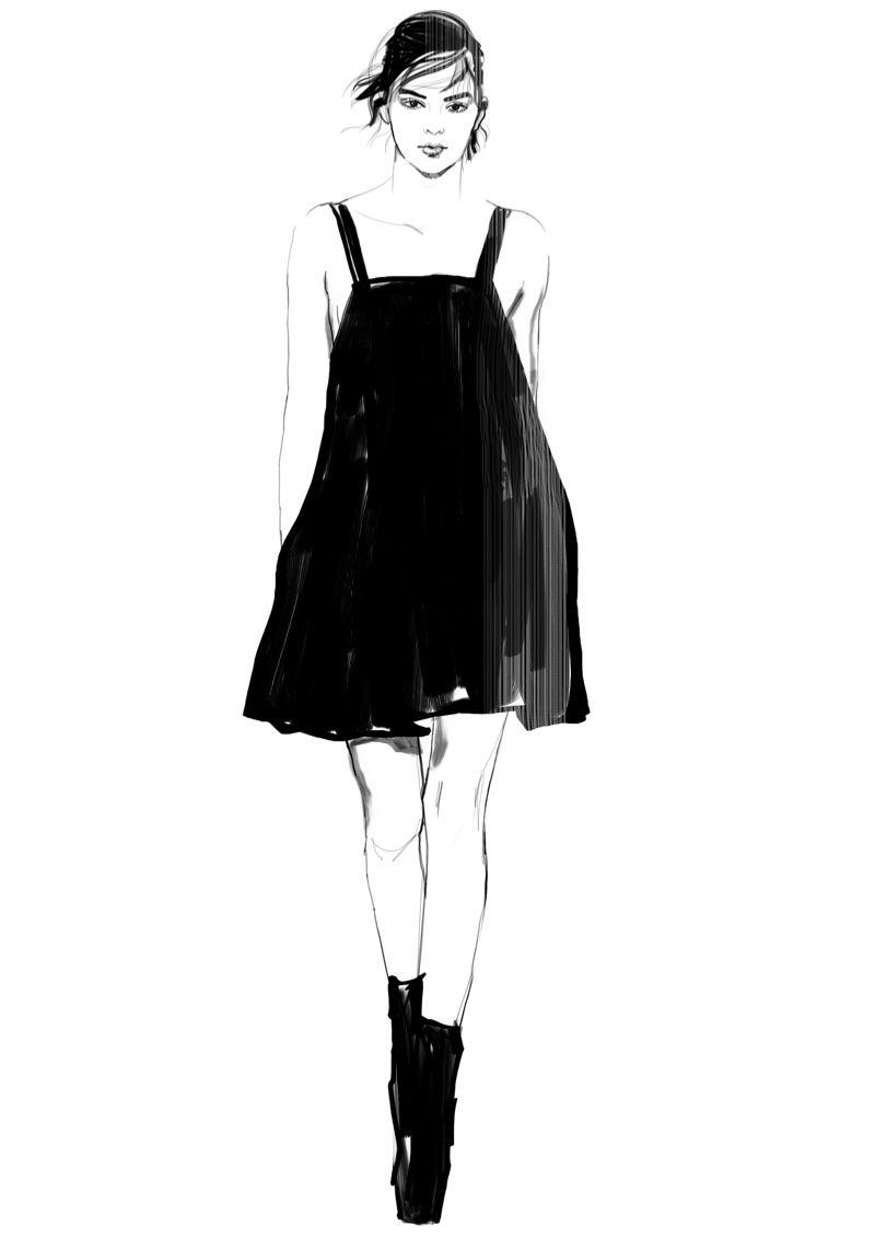 Fashion illustration - fashion sketch of Kendall Jenner
