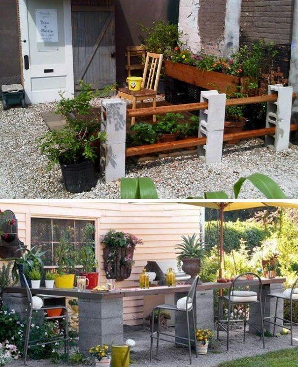 24 coole Ideen um Betonsteine im Garten oder Haushalt zu verwenden #betonblockgarten