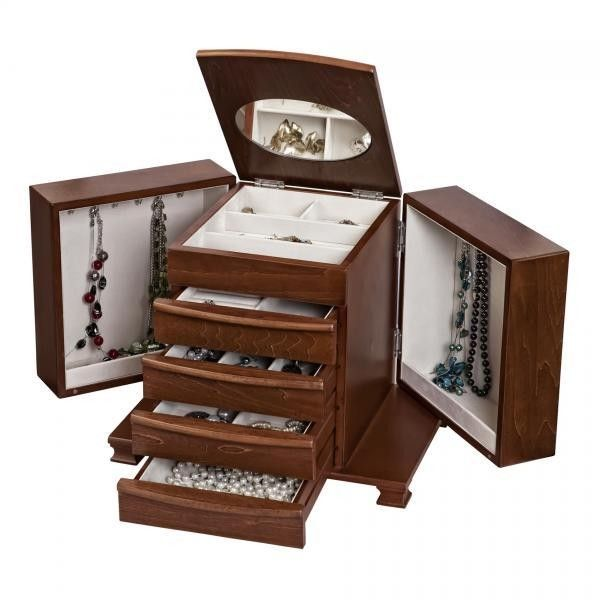 Allurez Wooden Jewelry Box, Antique Walnut Finish, Footed Base, Jewel... ($145) ❤ liked on Polyvore featuring home, home decor, jewelry storage, antique home decor, wooden home decor, jeweled jewelry box, wooden jewelery box and wood home decor