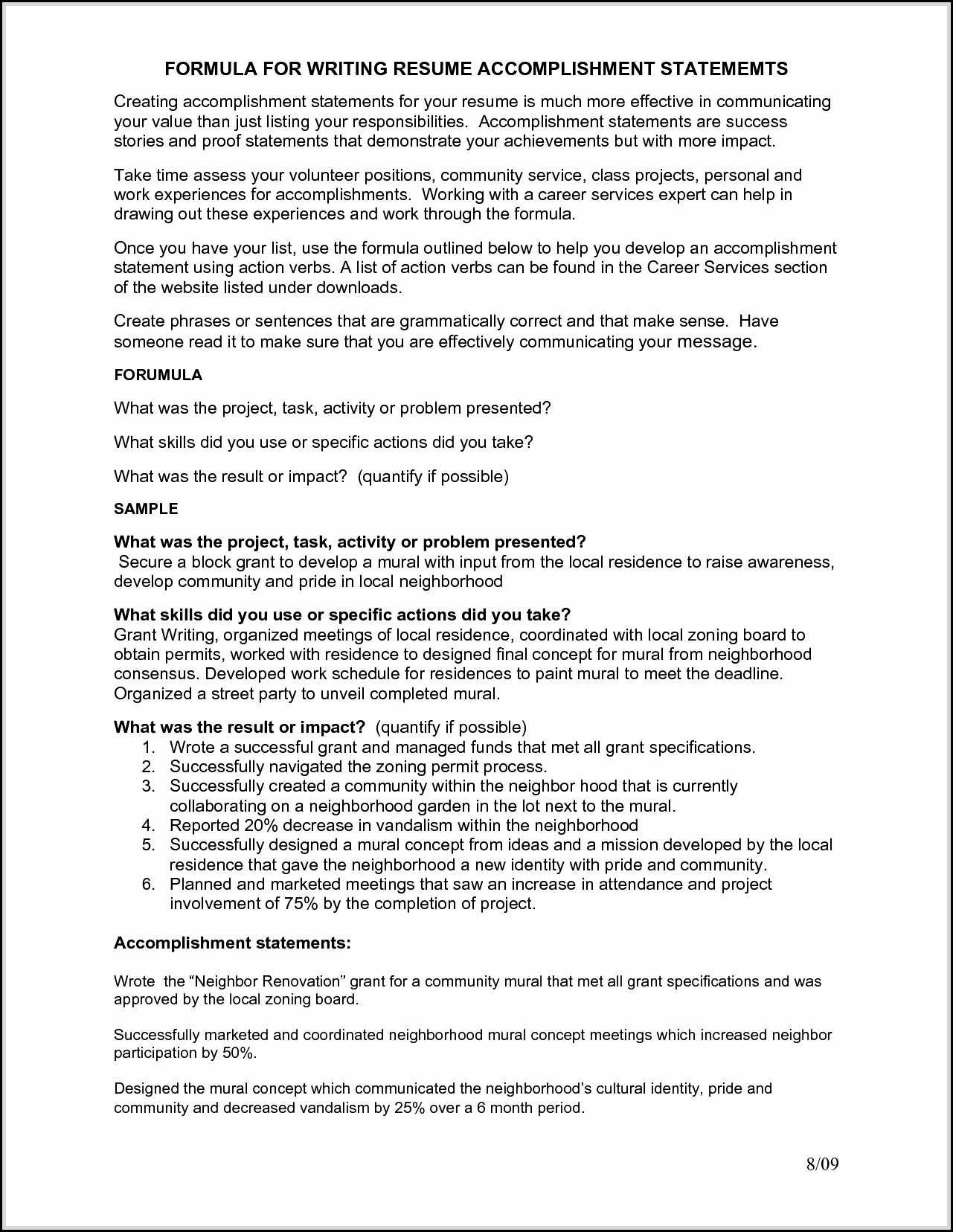 sample achievements for resumes