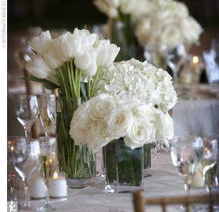 Different White Flowers With Separate Vases Flowers White