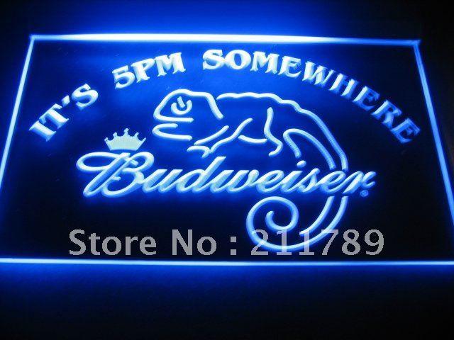 B0539 It's 5 pm somewhere Budweiser Neon Light Sign | Neon