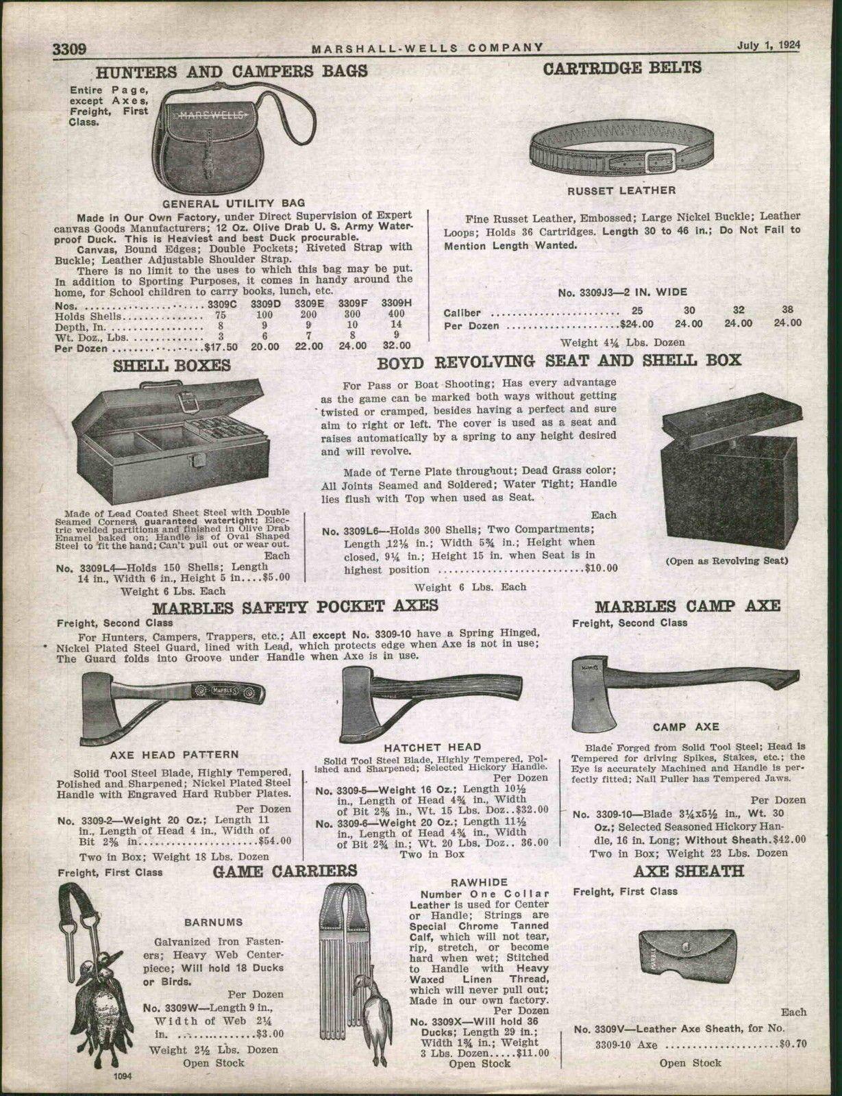 1925 Ad Marbles Safety Hatchet Pocket Axe Axes Hunting Camp Ebay Hunting Camp Hatchet Axe