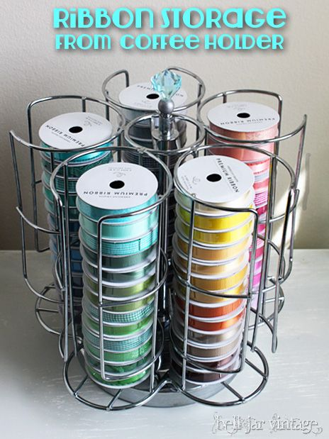 Thrifty Repurposing Ribbon Spool Holder Ribbon Storage Craft