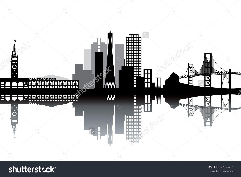 stock-vector-san-francisco-skyline-black-and-white-vector-illustration-142658452.jpg 1500×1100 pikseliä