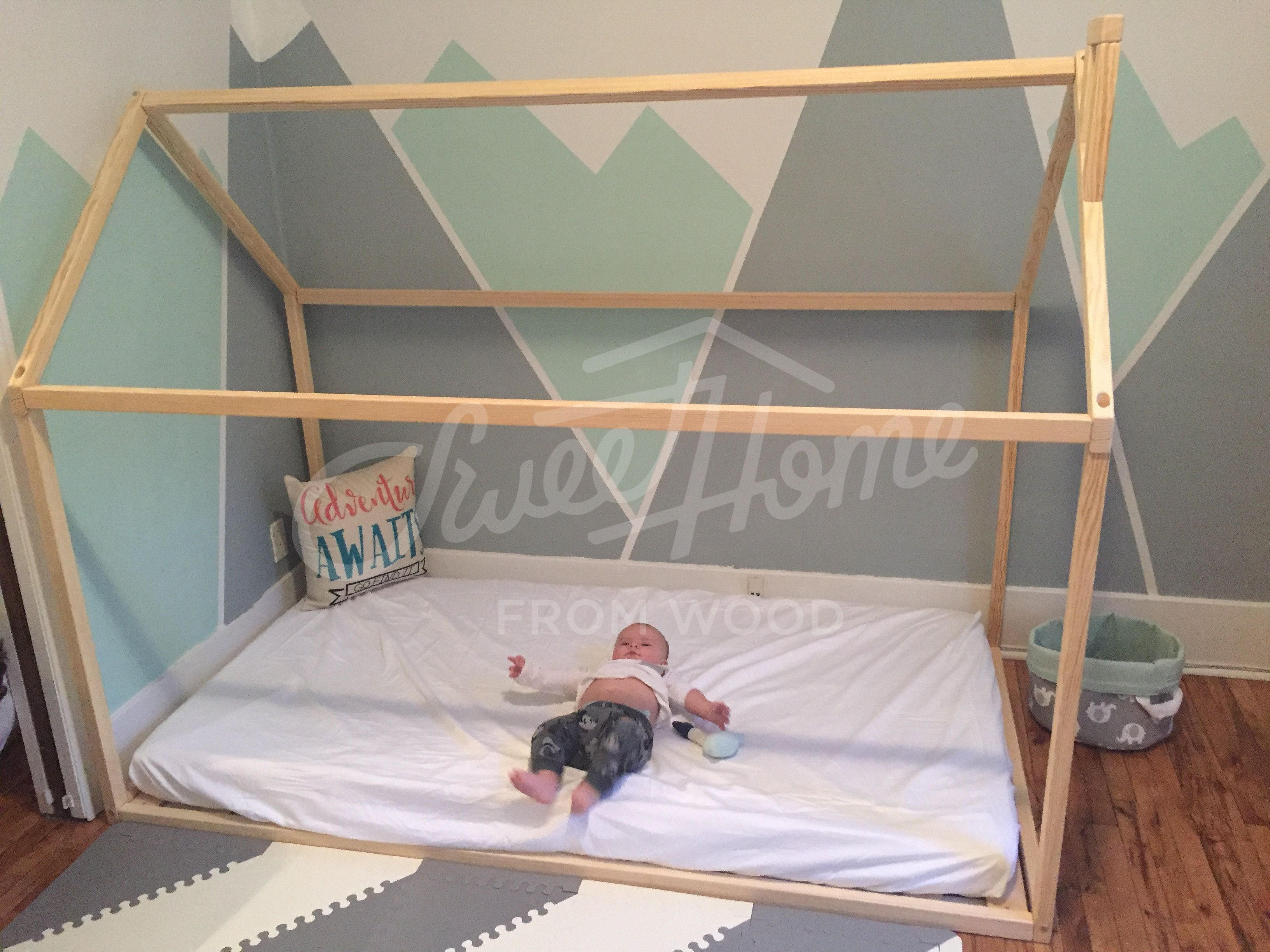 Mint And Grey Nursery Room, Toddler Bed, House Bed, Tent