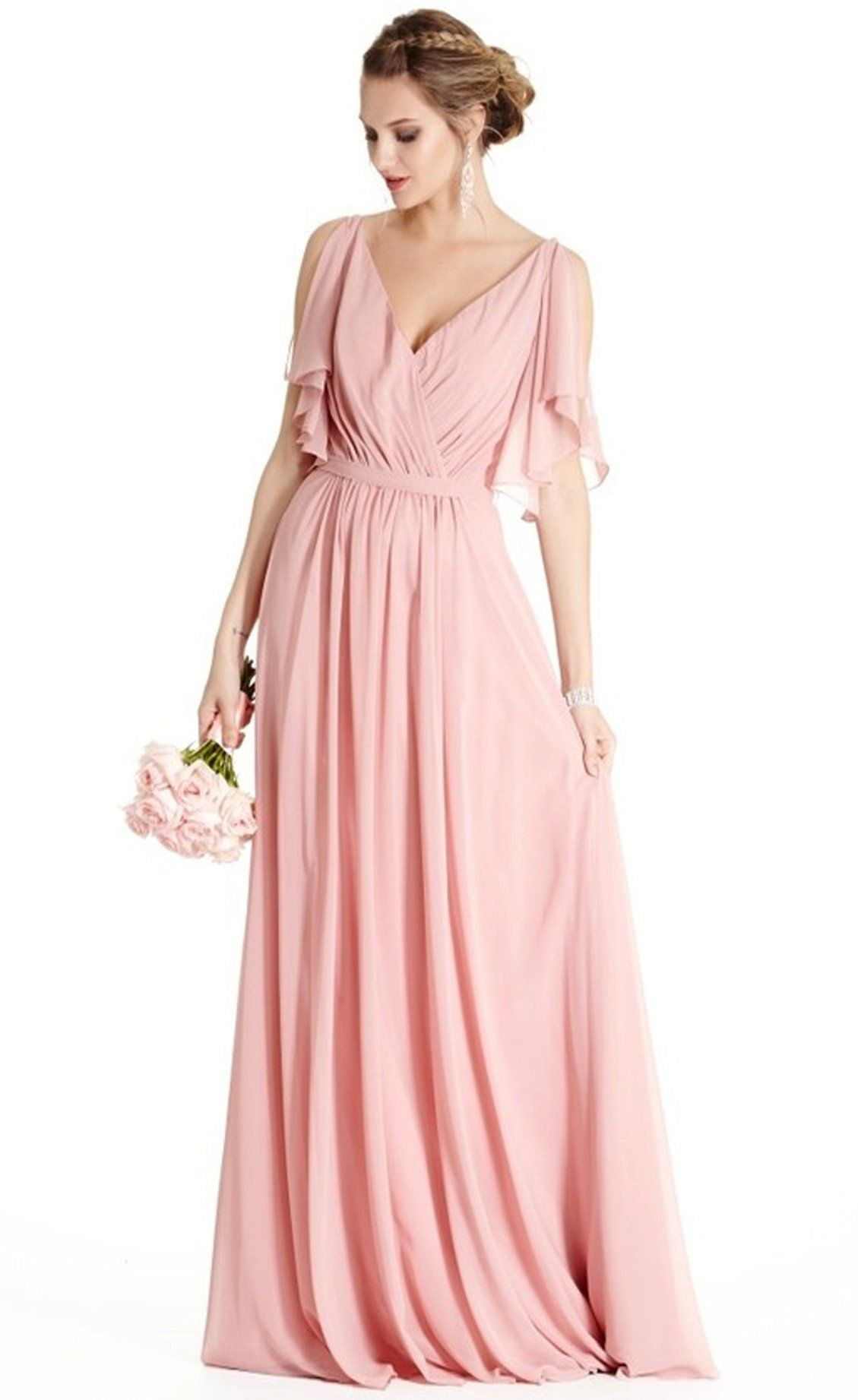 Serendipity blush flutter sleeve bridesmaids dress flutter sleeve pretty chiffon fabric makes lovely ensemble with this marvelous maxi dress a semi sheer flutter cape drapes over a sleeveless silhouette that continues ombrellifo Image collections