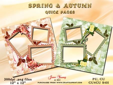 Spring Autumn on Craftsuprint designed by June Young - Two pages for Spring and Autumn. Each has three frames for your photographs. The frames are decorated with toning flower and ribbon embellishments. These can be used for scrapbooking or card-making. Commercial use is ok including for items you are selling on CUP but the files must be used as part of your own design and not sold on/given away 'as is'. - Now available for download!