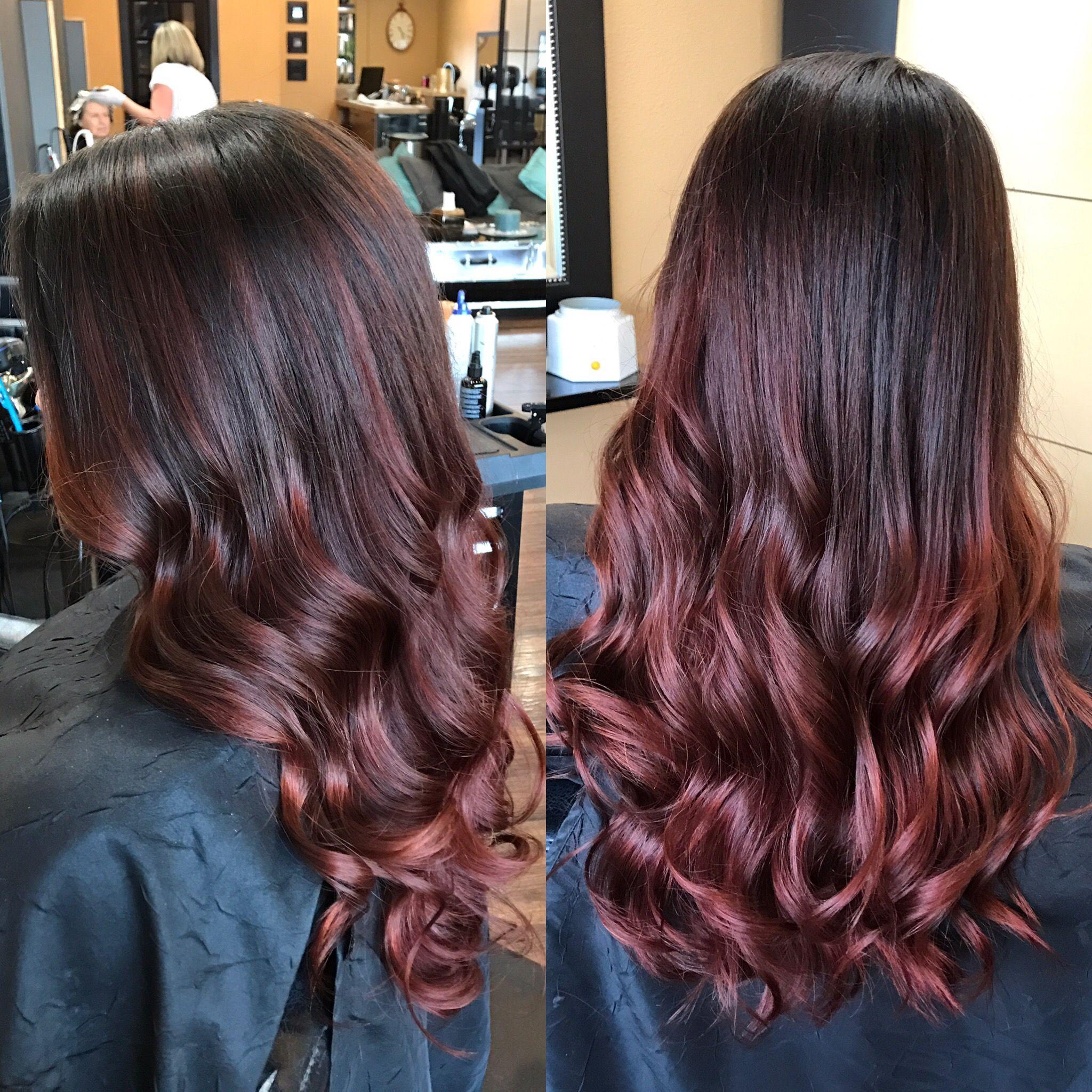 Rose Gold Balayages On Dark Brown Hair Hair Pinterest Hair