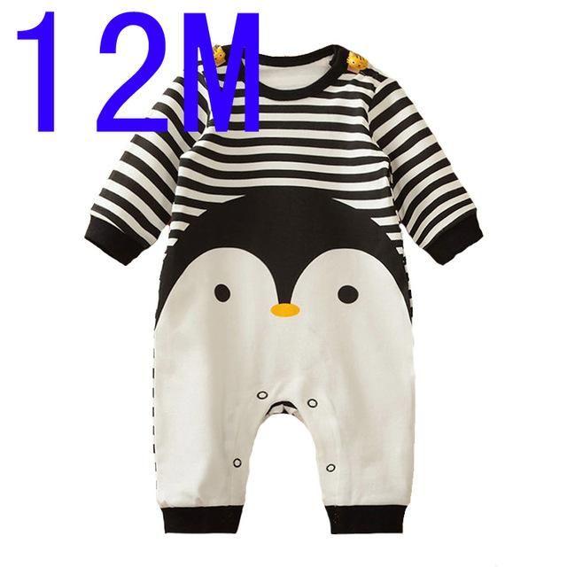 Baby Boy Romper Long Sleeve Cartoon Animal Penguin Baby Boys