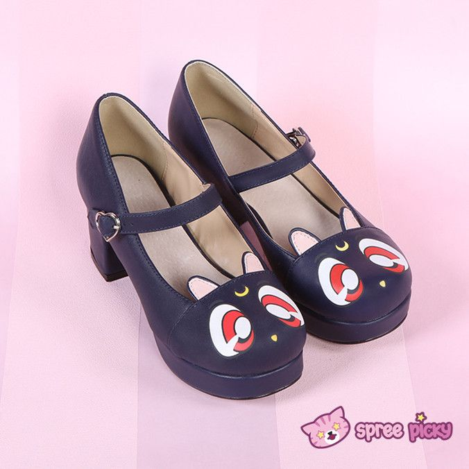 Reservation to July! Sailor Moon Luna Kitten High Heels Shoes SP151973